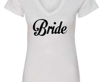 V Neck Bride Shirt - Bridal Shirt - Bridal Party Shirt