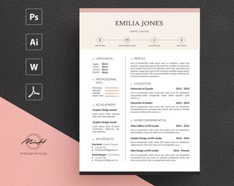 Pinky Resume Template / CV template / FREE Cover letter