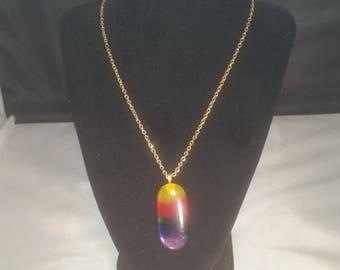 Fused Glass Rainbow Pendant