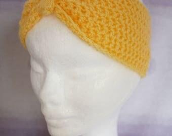 Handmade Crochet Yellow Headband Large