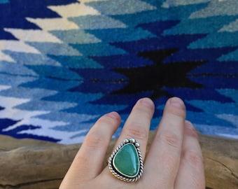 Broken Arrow Turquoise Ring. Size 8.