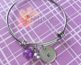 kids personalized name bangle - girls purple charm bangle - handstamped initial - dainty kids jewelry - custom charm bracelet for young girl