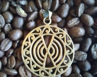 Tribal style brass pendant (gold color)