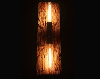 Rustic wood wall light
