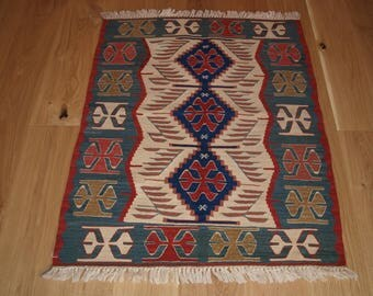 Beautiful Handmade Turkish Kilim, 112 x 90cm, Made With Hand Spun Wool & Natural Dyes