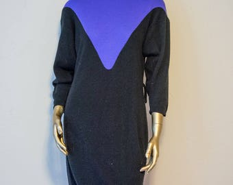 Vintage purple and black sweater dress