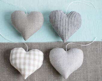 Linen hearts set of 4, wedding hearts, stuffed linen hearts, Valentine's day gift inspiration, natural rustic hearts, linen hanging hearts