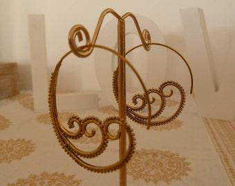 Brass Earrings Brass Spiral Earrings Gypsy Earrings Tribal Earrings Ethnic Earrings Indian Earrings Statement Earrings gift for her
