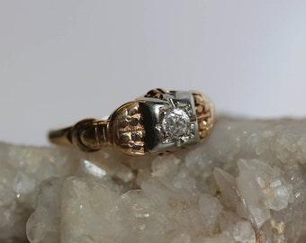 Petite Antique Diamond Wedding Ring, Forget Me Not Wedding Ring, Old Mine  Cut Diamond