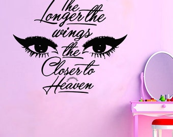 Wall Decal Window Sticker Beauty Salon Woman Face Eyelashes Lashes Eyebrows Brows t29