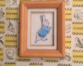 Peter rabbit picture.papercut.nursery decor.miniature.decoupage.paper cut.Beatrix Potter.framed ornament.bunny.easter!