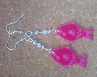 Pink fish earrings