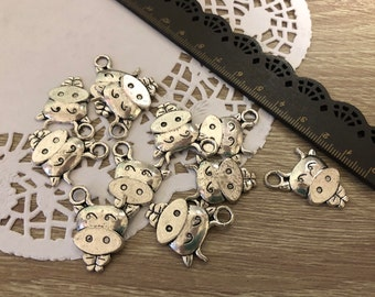 Lotto 16 Silver Cow pendants-cow silver charms