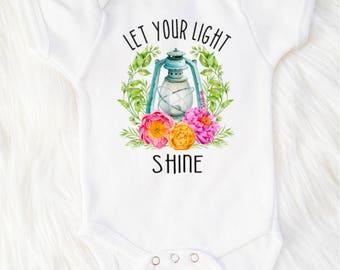 Floral bodysuit, Matthew 5:16, Let your light shine bodysuit, Christian baby bodysuit, Christian bodysuit, Christian baby shower gift, Baby