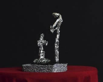 Requiem - Mourning, unique sculpture, iron sculpture, tiny sculpture, metal sculpture, grave sculpture, gothic sculpture