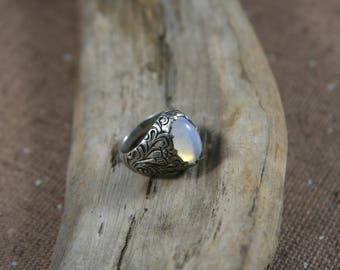Moonstone and Sterling Silver Ring, Size 5.5