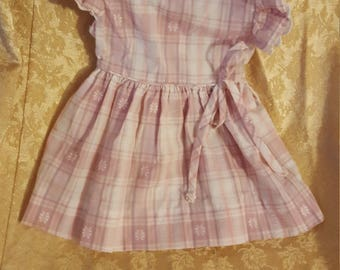 Vintage Kate Greenaway pink, purple and white plaid childs' dress with darling head scarf.