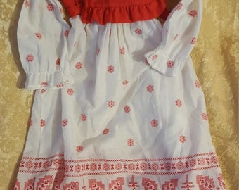 Vintage Youngland long sleeved, ankle length red and white dress