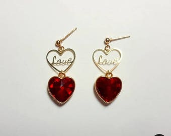 Crystal Red Heart Love Earring, Simple Daily Cute Luxury Lovely Mini Handmade Silver Earring Jewelry Set Birthday Anniversary Bridal Gift