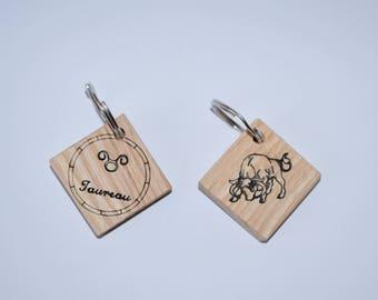 Zodiac Sign Taurus wooden keychain.