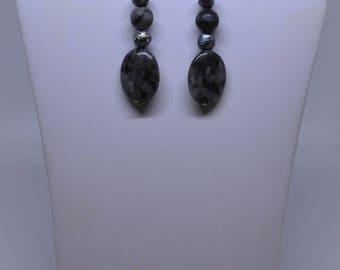 Labradorite,Black Pearls & Black Network Earrings