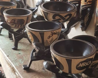 Ghanaian Carved Wooden Bowls