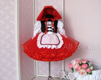 Little Red Riding Hood Costume Tutu Dress For Girl Red Dress and Cap Toddler Halloween Dress Girl Event Dress Tulle Baby Dress Fancy Dress