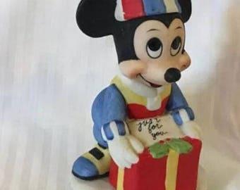 Walt Disney Productions Mickey Mouse Vintage Ceramic Christmas Figurine