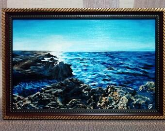 Acrylic painting 20*30 cm on carton blue landscape sea framed