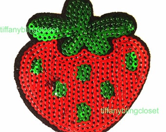 strawberry iron on high quality  sequins / embroidered
