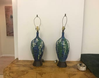 Pair Of Blue Pottery Lamps
