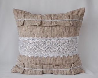 With white lace decorative throw pillow cover, gray original couch pillow 16x16 Rustic cushion with braid white and ruches