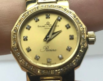 Baume&Mercier,ladies, full 18K YG watch with Diamond accent
