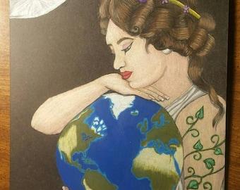 Original Drawing - Gaia - Mother Earth