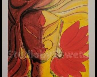 Acrylic Painting, Asian decor, Indian Contemporary, Goddess Durga, Hindu God, India canvas painting, Indian wall art, free shipping