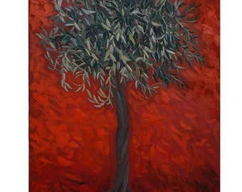Tree on a Red Ground, 60 x 80 cm (24 x 32 inches).acrylic on canvas painting ,artwall by Iro Mattie