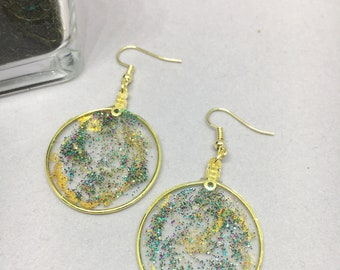 Beautiful translucent glitter and gold drop earrings