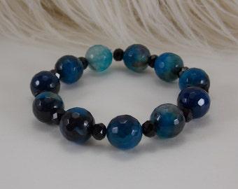 Blue and Black bracelet stretch bracelet beaded bracelet blue bracelet black bracelet women's bracelet girls bracelet crystal bracelet