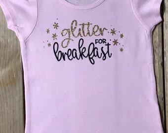 Glitter For Breakfast Pink Short Puff Sleeve T-shirt