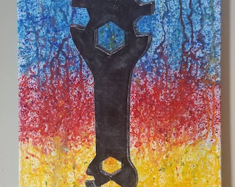 Acrylic Paint of Wrench with Abstract Background