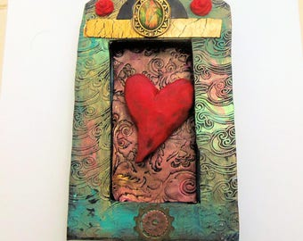 Framed Heart - Distressed Steampunk Framed Heart Wall Hanging - Textured Turquoise Frame with Steampunk Details -Mixed Media wallhanging