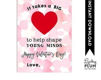 Valentine's Teachers Gift / Teacher's Valentine's Printable / Thanks for Putting Your Heart in Teaching / *Digital Printable