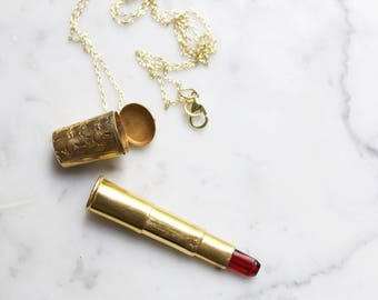 Vintage 40's H&H Gold Telescoping Cigarette Holder Canister Vial Necklace