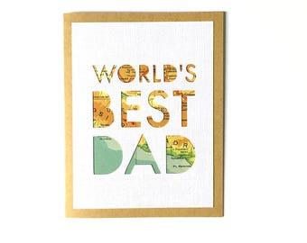 Father's Day Card, Card for Dad, New Dad Card, World's Best Dad, Card for Him, Card for Husband, Card for Father, Handmade Card
