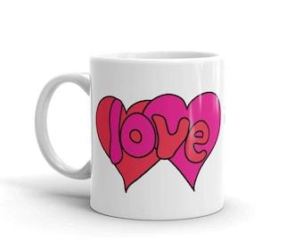 Retro Love Mug Heart Coffee Mug Seventies 70s Vintage Design Gift for Mom Grandparent Daughter Girlfriend
