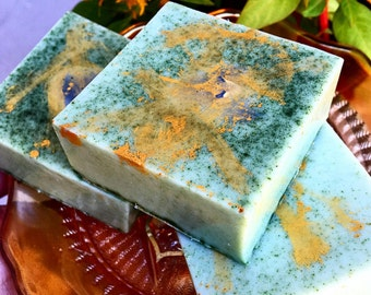 Body Smudge Bar - Clary Sage Castile Soap with Spirulina, Olive and Blue Lace Agate - Signature BethKaya