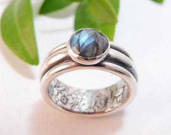 Silver Statement Ring Handmade Womens Ring Secret Garden Green Stone Blue Stone Labradorite Ring Wide Band Womans Ring Womens Silver Ring