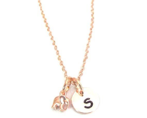 Rose Gold Elephant Necklace Initial Rose Gold Necklace,Rose Gold Elephant Necklace,Rose Rose Gold Initial Necklace,Free Shipping In USA