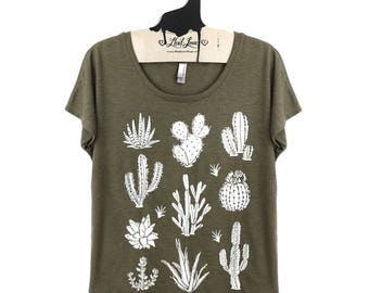Medium-  Olive Dolman Tee with Cactus Screen Print- Tri-Blend Shirt Womens Succulent