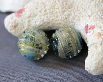 Elizabeth Creations UNDERWATER artisan lampwork matching handmade glass beads Sra